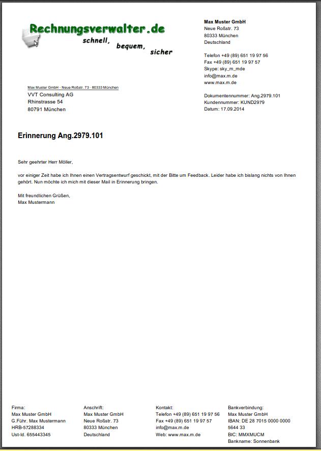 Mit Rechnungsverwalter erzeugte Dokumente