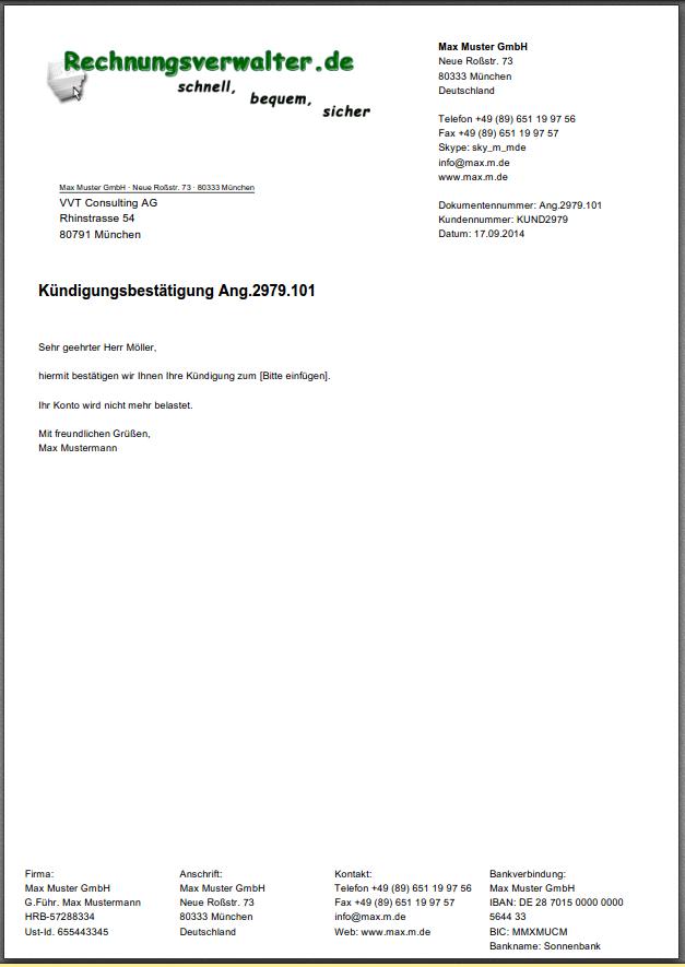 pdf icon - Kundigungsbestatigung Muster
