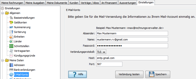 E-Mail Account Einstellungen
